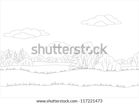 Seamless background, landscape, forest, black contour on white background. Vector - stock vector