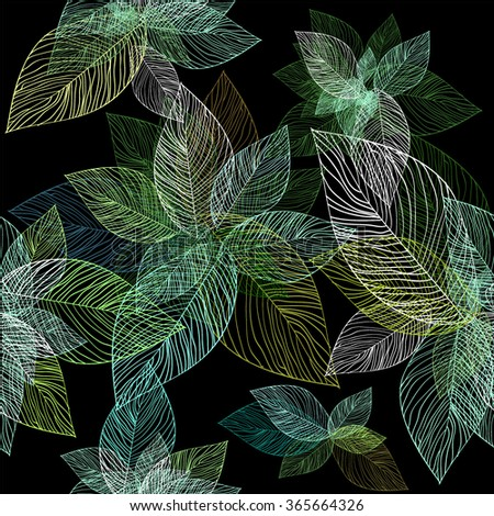 Seamless background leaves. Vector