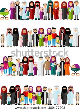 Seamless background of arabic family dressed in national costumes.