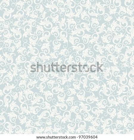 Seamless background of blue damask-style