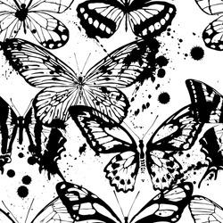 Seamless background of butterflies black and white colors. Vector illustration