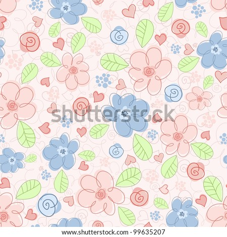 Seamless background of children with flowers