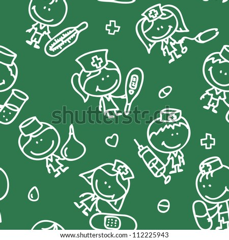Seamless background of doodle happy children with medical tools plays hospital on blackboard