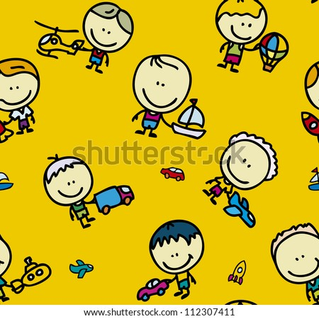 Seamless background of doodle happy children with transport toys