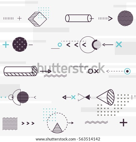 Seamless background of geometric elements, which move horizontally. Vector illustration