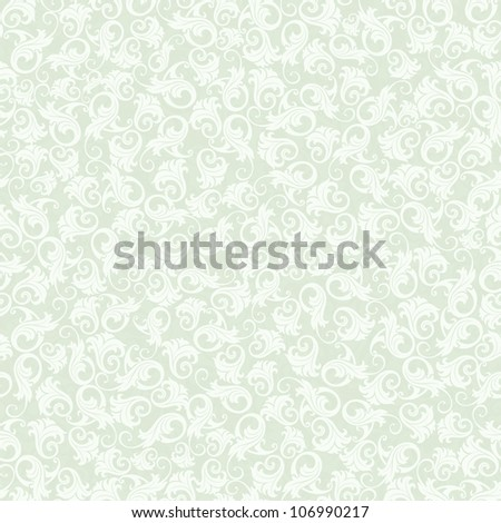 Seamless background of green damask-style
