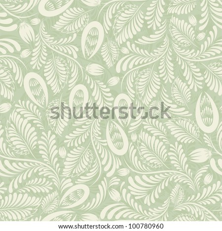 Seamless background of green in the folk style