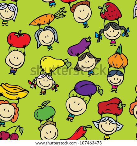 Seamless background of happy kids with fresh fruits and vegetables