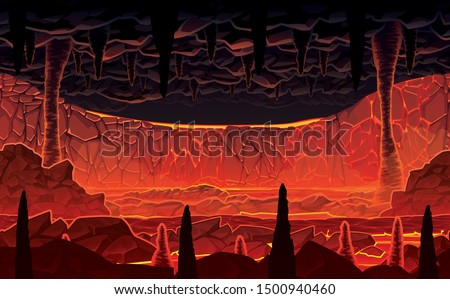 Seamless background of landscape - infernal hot cave with lava. Horizontal tiles. Parallax ready. For use in developing, prototyping  adventure, side-scrolling games or apps.