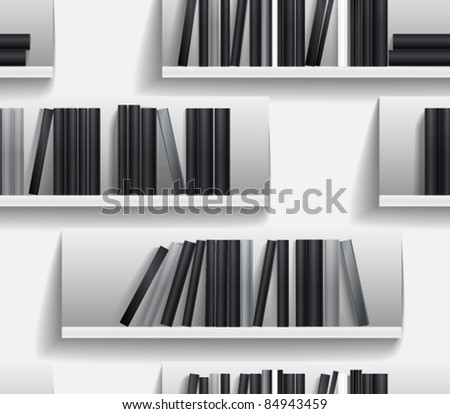 Seamless background of library shelves - stock vector