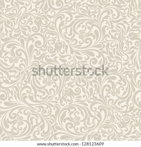 Seamless background of light  beige color in the style of Damascus - stock vector
