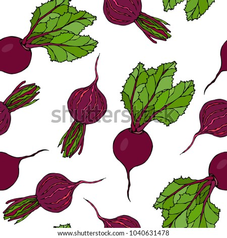 Seamless Background of Ripe Beets. Endless Pattern of Beetroot with Top Leaves and Beet Halves. Fresh Vegetable Salad. Hand Drawn Vector Illustration. Savoyar Doodle Style.