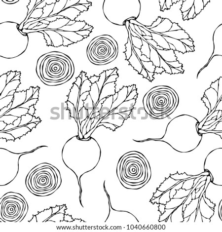 Seamless Background of Ripe Beets. Endless Pattern of Beetroot with Top Leaves, Beet Halves and Cut Round Slices. Fresh Vegetable Salad. Hand Drawn Vector Illustration. Savoyar Doodle Style.