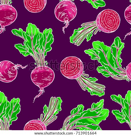 seamless background of ripe beets. hand drawn illustration