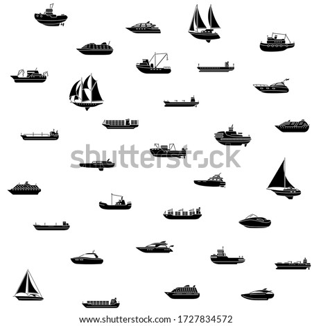 Seamless background of ships and boats. Barge and cargo ship, tanker, sailing vessel, cruise liner, tugboat, fishing and speed boat. Vector illustration stock photo