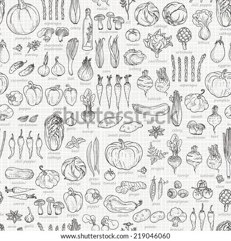 Seamless background of vegetables and spices, hand-drawn illustration in vintage style. #219046060