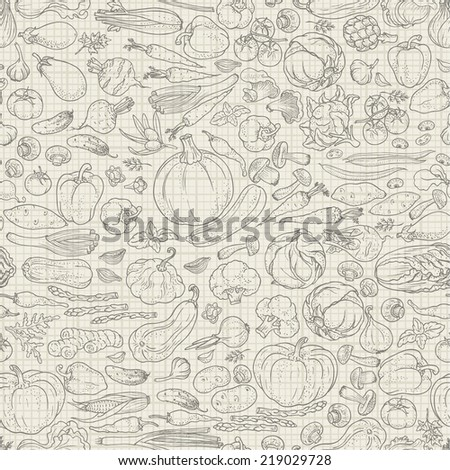 Seamless background of vegetables and spices, vector hand-drawn illustration in vintage style.