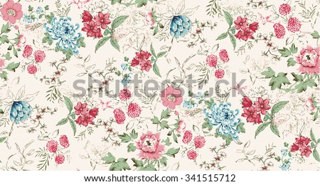 Seamless background of watercolor flowers