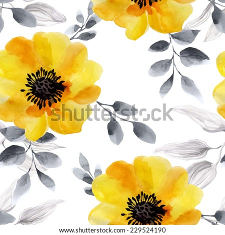 Seamless background of watercolor flowers. Seamless texture with romantic yellow roses.