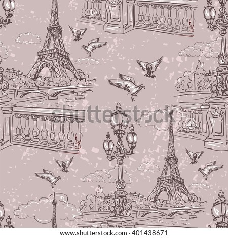 Seamless background Paris in retro style. The embankment River Seine, lanterns and doves