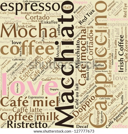 Seamless background pattern coffee, espresso, cappuccino, macchiato, Word cloud, tag cloud text business concept. Word collage. Vector illustration.