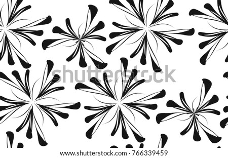 Seamless background pattern in retro style. Wrapping paper, wallpaper, fabric swatch. Black and white vector illustration.