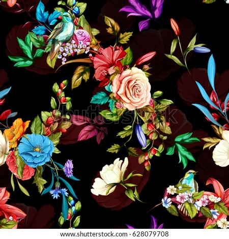 Seamless background pattern. Nightingale, roses, pomegranate branch and wild flowers with leaves on black. Watercolor, hand drawn.