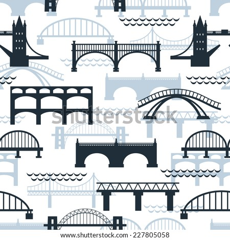 Seamless background pattern of bridge silhouettes in various designs including well-known landmarks in a travel concept vector illustration