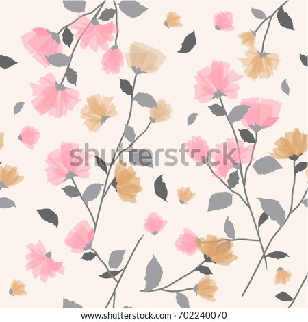 Seamless background pattern of delicate pink floral blossom or soft flowering symbolic of Spring in a random arrangement on a white background. hand drawing style.