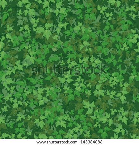 Seamless background, pattern of maple green leaves. Vector