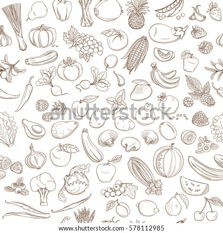 Seamless background pattern of organic farm fresh fruits and vegetables. Vector illustration. Outline line flat style design. White backdrop.