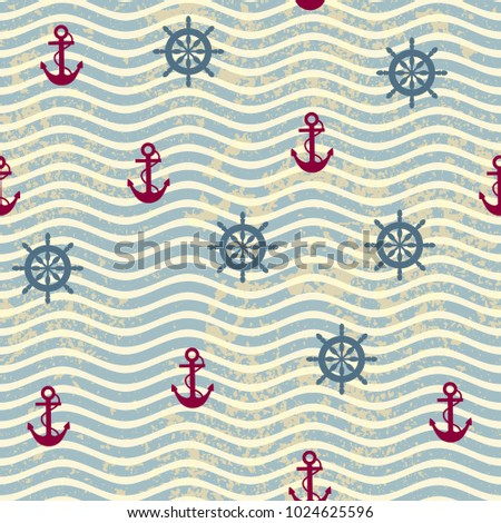 Seamless background pattern. Pattern in nautical style with a retro waves