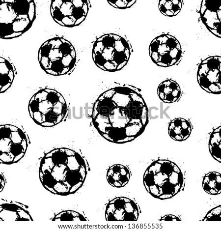 seamless background pattern, soccer balls, vector illustration