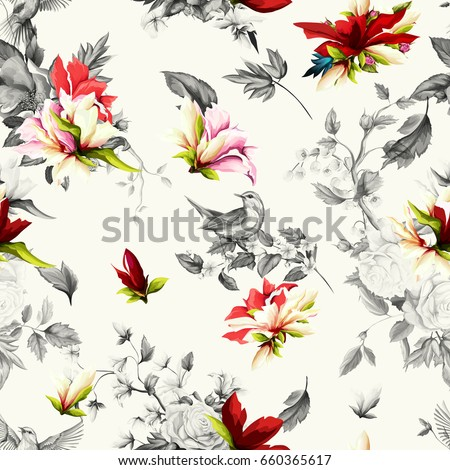 Seamless background pattern. Stylized artwork. Rose, pomegranate bud with wild rosemary and nightingale. Hand drawn. Watercolor.