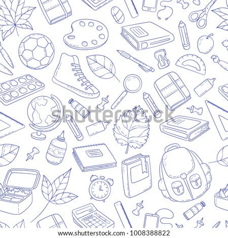 Seamless background, pattern, wallpaper, texture. Template for flyer, advertisement, banner. Vector Doodle Icons Collection. School supplies. Back to school, first day of study.