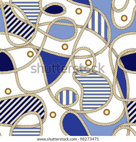 Seamless background pattern. Will tile endlessly. Fashionable pattern in sea style with rope - stock vector