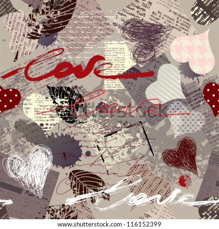"Seamless background pattern. Will tile endlessly. Grunge texture with inscription ""love"" and hearts."