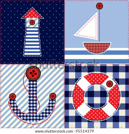Seamless background pattern. Will tile endlessly.  Patchwork in fashionable nautical style