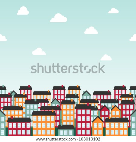 Seamless background pattern with colorful town. Vector illustration.
