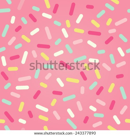 Seamless background. Pink donut glaze or ice cream top with many decorative sprinkles.