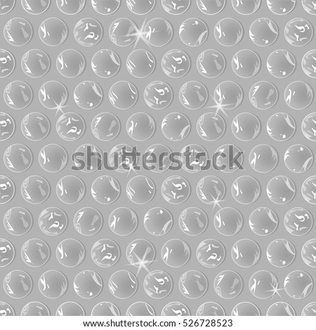 Seamless background, realistic polyethylene packaging bubble wrap, isolated vector.