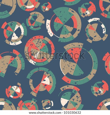 Seamless background texture with retro colored grunge circles, vector pattern