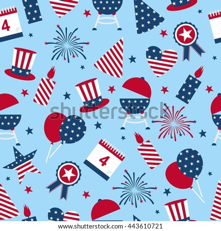 Seamless background to the day of independence of the USA. Seamless pattern for Independence Day - USA national holiday Fourth of July.