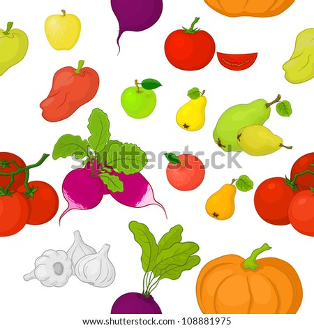 Seamless background, various vegetables and fruits on white. Vector