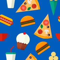 Seamless background vector pattern with fast food: burger, muffin, hot dog, pizza, ice cream and drink on blue background. Vector illustration. Flat design.