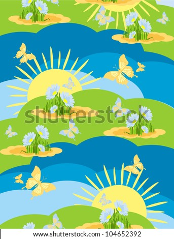 seamless background wallpaper with a picture of the nature of a meadow on a summer  day with flying butterflies in a cartoon style