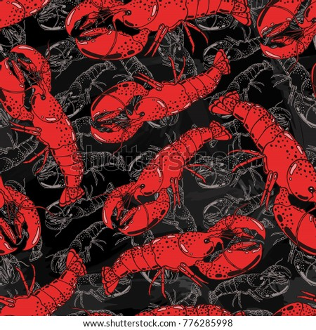Stock Photo Seamless background with a pattern of hand drawn red cooked boiled lobster in a shell on chalkboard