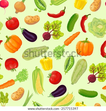 Seamless background with a pattern of ripe vegetables from the garden. Carrot, cabbage, green peas, peppers, chili, pumpkin, zucchini, radish, corn, eggplant, tomato, onion, beet, cucumber, potato. #257715397