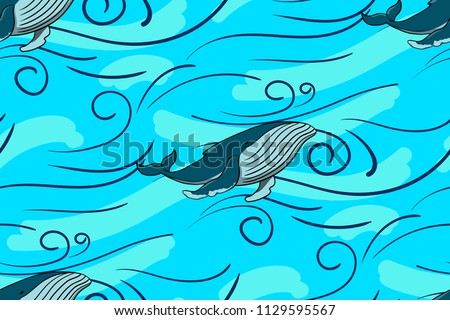Seamless background with a whale. Children's texture for the fabric, textiles in pastel colors. Vector pattern on a transparent background.