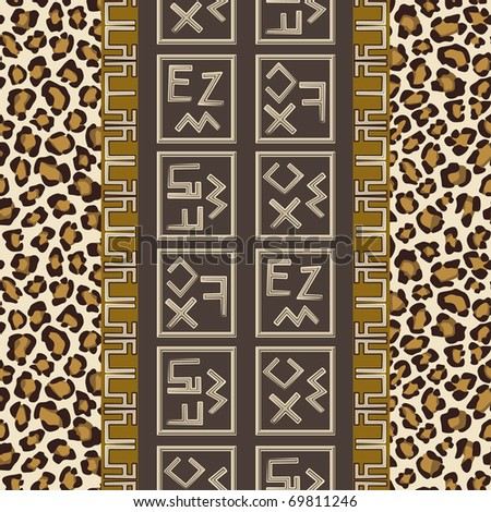 Seamless background with abstract signs and leopard skin pattern